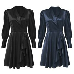 Womens Satin Dress Lantern Sleeve A Line Wedding Elegant Trendy Party Dresses $33.65