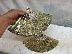 Vintage Pair Brass Fans Asian Dragon Wall Fans sconce Made in Taiwan $35.99