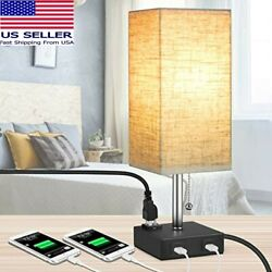 MOICO Bedside Modern Table Nightstand Lamp w 2 USB Charging Ports amp; 1 AC Outlet $22.99
