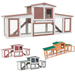80.3quot; Outdoor Large Rabbit Hutch Wooden Chicken Coop Small Animal House Pet Cage $168.10