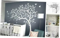 Large Tree Wall Decals Nursery Wall Tree Stickers with Birds Stunning White $97.53