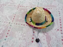 dog pet fun sombrero straw hatcolorful trimSmall **read details for size $8.75