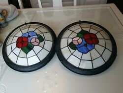 2 x Beautiful Vintage Tiffany Style Stained Glass round Ceiling Shades GBP 59.99