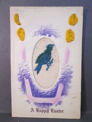 Postcard Happy Easter Novelty Applied Silk Embroidered Blue Bird c1916 Z1 $6.99