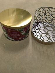 New Yankee Sweet Cherry Orchid 3 Wick Jar Candleamp;Decorative Metal Holder 18oz$50 $27.59