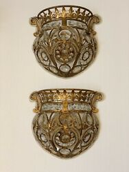 Pair Crystal Beaded Baguette Wall Sconces Gilt Metal French Style $900.00