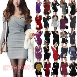 Womens Long Sleeve Bodycon Mini Dress Ladies Casual Party Cocktail Ball Dresses