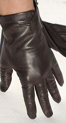 Gloves Leather Women Emperor Finger Without Lined Gathered Dark Brown 75 $76.06