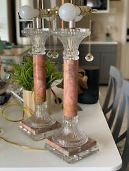 Vintage crystal and marble lamps $500.00