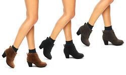 New Women Faux Suede Ankle High Lace Up Boots Low Heel Fashion Booties KENDRA $23.75