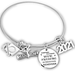 2021 Graduation Gift Bangle Bracelet Congrats Grad Stainless Steel Jewelry for