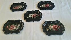 Vintage Tole Ware Black Hand Painted Rose Tip Tray Chippendale Shape MCM $34.99
