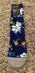 NEW Stance Hanalei Blue Floral Crew Socks Size Large 9 12 NWT $10.99