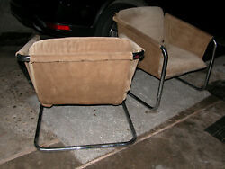 Vintage PAIR Mid Century Modern THONET Chrome SUEDE Lounge CHAIRS $275.00