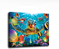AGCary Bathroom Wall Canvas Art Decor Sea Turtle Painting Pictures Print on Canv $21.99