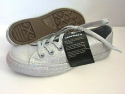 Converse Chuck Taylor All Star Womens Sz 8 Silver Glitter Low Top Shoes 162994C $37.95