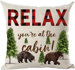 ramirar Red Brown Word Art Quote Relax You Are At The Cabin Bears Froest Trees I $18.99