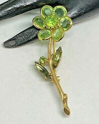 Green Glass and Rhinestone Gold Tone Vintage Flower Brooch Pin $9.00
