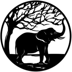 Nachic Wall Metal Wall Art African Elephant under Tree Wall Sculpture for Indoor $118.99