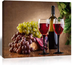 The Melody Art giclee grape and wine canvas print wall art kitchen accessories w $23.99