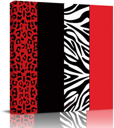 Square Wall Art Canvas Oil Painting Red and Black Zebra Leopard Pattern Canvas $48.99