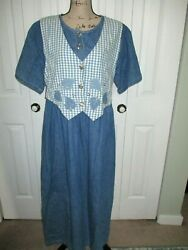Vtg Miss amp; Mrs Blue Jean Denim Jumper Maxi Dress Plus Size 2X Made USA $24.92