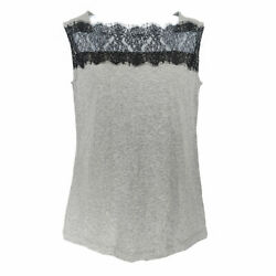 Cabi Lacey Tee Top Gray Black Lace Women#x27;s XS Sleeveless Cotton Spandex 3815