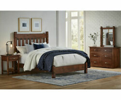4 PC Amish Rustic Bedroom Set Slat Headboard Tenons Solid Wood Queen King Denver $3999.00