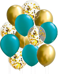 Teal Gold Balloons of 15pcs Qian#x27;s Party Teal Gold Birthday Party Decorations Wo $11.99