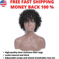Afro Wigs for Black Women Short Afro Kinky Curly Wig with Bangs Synthetic Daily