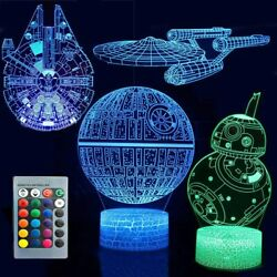 3D Illusion Star Wars Night Light Remote Control LED Table Lamps for Kids GIFT $21.28