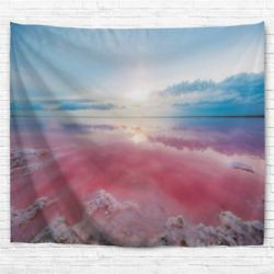 IcosaMro Beach Tapestry Wall Hanging for Bedroom Double Folded Hems Ocean Pink $14.99