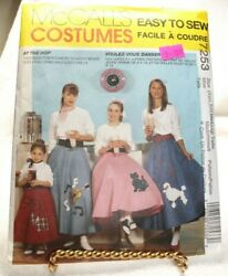 McCalls Sewing Pattern 7253 Misses Poodle Skirts Costume Size XS LG $6.99