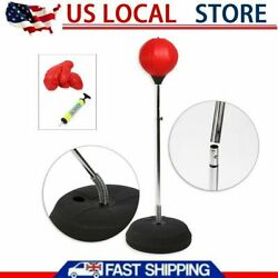 Adult Punching Bag Boxing Ball Speed Bag Stand Height Adjustable with Gloves Red $42.19