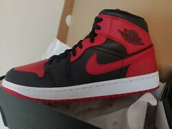 Nike Air Jordan 1 Mid BANNED Bred Black Red 2020 size 10 $155.00
