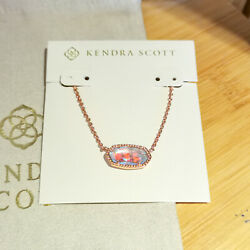Kendra Scott Dichroic Glass Elisa Pendant Necklace in Rose Gold $27.95