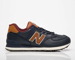 New Balance 574 Men#x27;s Navy Brown Low Casual Athletic Lifestyle Sneakers Shoes NB $74.75