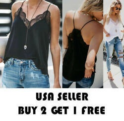 Lace Women Basic Sexy Casual Stretch Tank Top Sleeveless Blouse Shirt S L $7.99