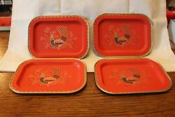 4 Vintage Mid Century Modern MCM Small Metal Trays with Peacocks 5quot; X 7quot; $16.95