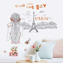 Removable Wall Decal Paris Eiffel tower Girl Sticker Home Room DIY Wall Decor $11.99