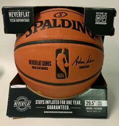 SPALDING NBA OFFICIAL SIZE GAME BALL NEVER FLAT REPLICA BASKETBALL ** NEW IN BOX $39.99