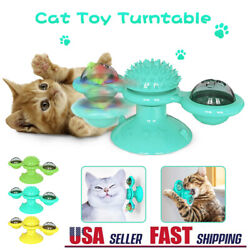 New Windmill Cat Toys Fidget Spinner for Kitten with LED and Catnip Ball USA $4.99