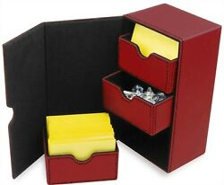 BCW Leatherette Deck Box Vault LX 200 Hold Sleeved Topload Gaming Cards In Red $25.16