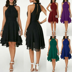 Womens Halterneck Sleeveless Mini Dress Cocktail Evening Party Formal Prom $23.27