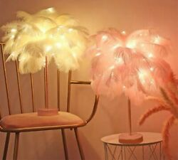 Desk LED Lamp Fairy Feather Decorative Remote Control Table Home Night Lights $21.24