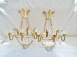 Antique Pair of Ornate Hollywood Regency Tole Metal amp; Crystal Sconces in Gold $1195.00