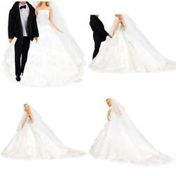 Barwa Wedding Set White Wedding Dress With Veil And Formal Suit Outfit For Boy A $21.96