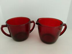Vintage Mid Century Ruby Red Depression Glass Creamer And Sugar $16.99