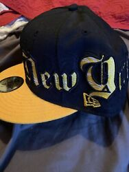 NEW ERA 59FIFTY NY Yankees 7 5 8 Fitted Black And Yellow Vintage With Tag Rare $16.00