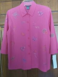 NWT Koret Womens Embroidered Pink Cotton Shirt 3 4 Sleeve Summer Petite M 10 12 $19.99